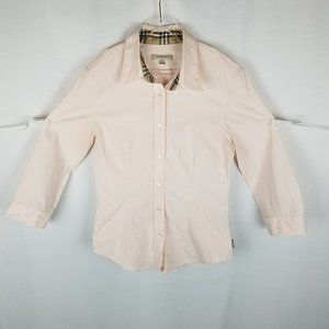 Burberry pink button front long sleeve shi…